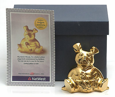 RARE Wade Natwest Gold Woody Piggy Bank, Ltd Edition Of 250