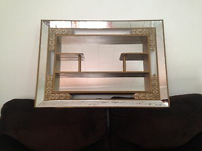 Vtg 1957  Windsor Wall Vanity Mirror Shelves French Provincial style shadowbox