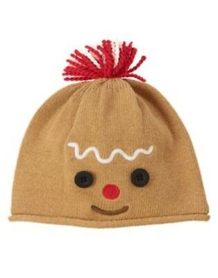 Gymboree Holiday Shop Gingerbread Lined Sweater Hat 0 3 6 12 18 Nwt