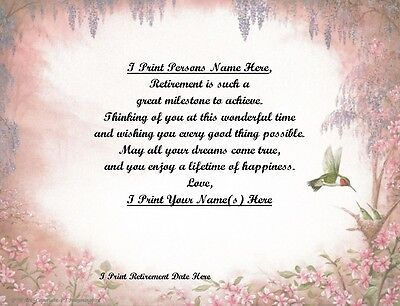 Retirement Gift for that Special Person~Personalized Poem Gift~ Monarch Print