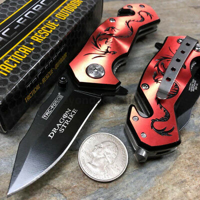 Handy Spring Assisted Dragon Strike Collection Small Red Pocket Knife TAC-FORCE