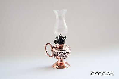 Turkish Handmade Copper Handcrafted Traditional Gas & Oil Lamp & Bedside Light