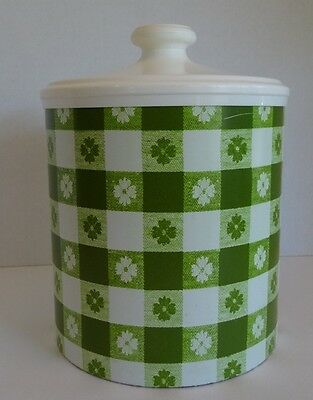 Vintage Rare Large Cheinco Housewares Green Tin Canister and Lid Picnic Pattern