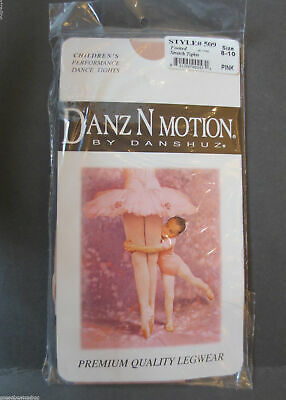 Danz N Motion by Danshuz Children's Footed Stretch Tights in Pink #509 Size 8-10