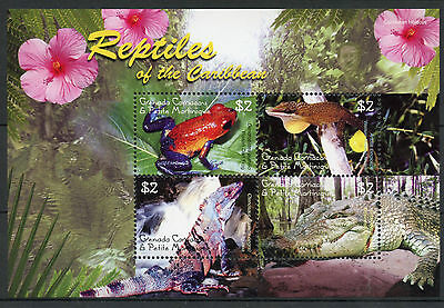 Grenada Grenadines 2005 MNH Reptiles of Caribbean 4v M/S Frogs Lizards Stamps