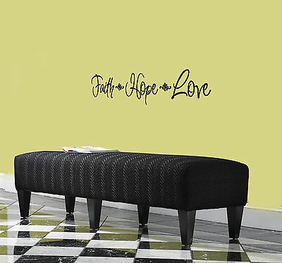 """""""Faith Hope Love"""" Vinyl Decal Wall Family Quote Inspiration Kitchen Stickers"""