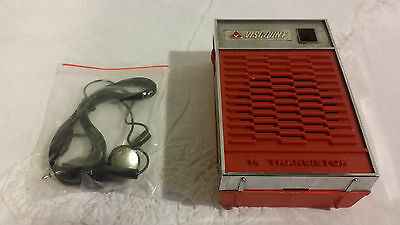 RARE Vintage Viscount 14 All Transistor Pocketable Radio, Red & Silver - CUTE!