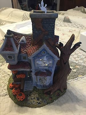 Partylite Ghostly Tealight House with spinning topper- Halloween! RETIRED