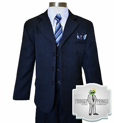 Boys Kids Formal Dark Navy Pinstripe Three Button Suit w/ Tie Vest Outfit