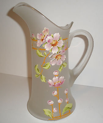 Vintage Victorian GORGEOUS Large Frosted Glass HP Pitcher Ewer Signed ca 1900