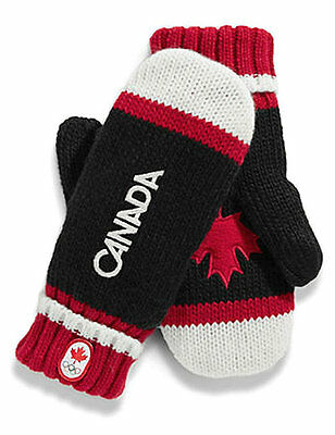 Canada Winter OLYMPIC 2014 New Black Red Mittens Maple Leaf adult kid