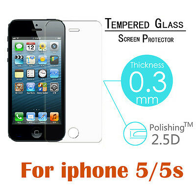 For Apple iPhone 5/5S Premium Clear Tempered Glass Screen Protector Film Guard