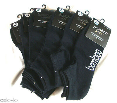 6 Pairs Mens Bamboo Sport Socks Cushion Foot Ankle Low cut size 11-14 Black