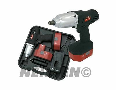 Heavy duty 24 Volt cordless impact wrench with 1 hour charger. Torque 420 N.M