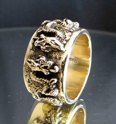 BRONZE BAND RING TWIN DRAGON MEDIEVAL GOTHIC CELTIC KNIGHT ANTIQUED ANY SIZE