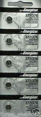 5 NEW ENERGIZER SR626SW 377/376 Silver Oxide 1.55v Watch Batteries Aussie Stock