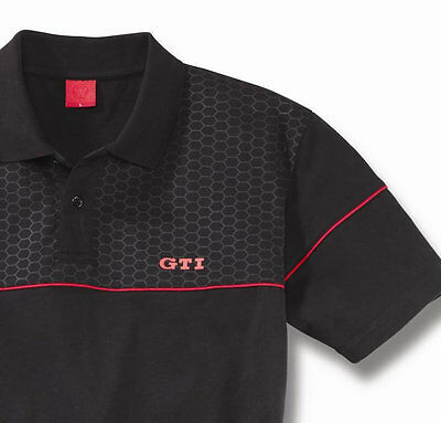 VW GTi COLLECTION MENS BLACK RED POLO T SHIRT – GENUINE VOLKSWAGEN MERCHANDISE