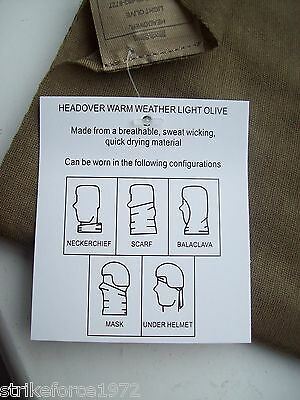 NEW British Army Issue Lightweight Warm Weather Headover Neck Scarf Light Olive