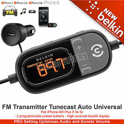 Belkin FM Transmitter Tunecast Auto Universal for iPhone 6 6 Plus 5 5s 5c F8Z439
