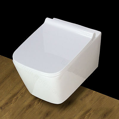 Toilet WC Bathroom Wall Hung Mounted Square Ceramic White Soft Close Seat BTP-W5