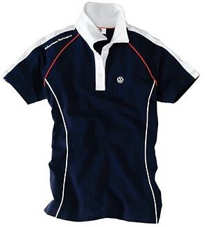 Genuine Vw Motorsport Collection Mens Blue White Polo T Shirt