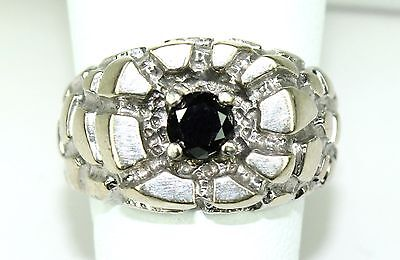 Vintage 14k White Gold Ring 0.3 Carats Black Diamond Lady's or Men's Sz 8