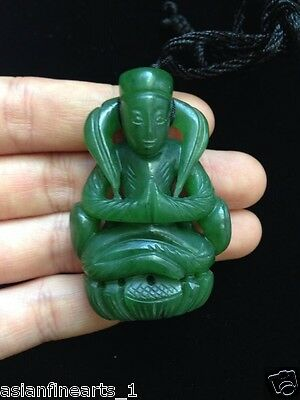 Old Chinese Natural Green Jade Kwan-yin Buddha Pendant Necklace Antique Jewelry
