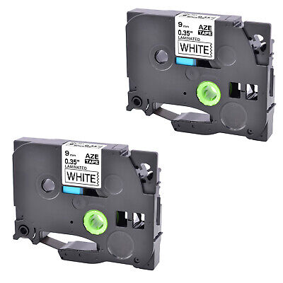 2PK 9mm TZ TZe-221 Black on White Laminated Tape For Brother P-Touch PT-1100 550