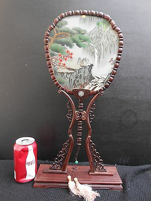 """Double Side Embroidery Fan and Rose Wood Frame with Gift Box """"19 1/4""""H"""