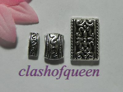 Hot Tibetan Silver 3-Hole Loose Charms Spacer Beads DIY Jewelry Findings #XZ114