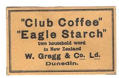 OLD MATCHBOX LABEL BOX SIZE SWEDEN FOR NEW ZEALAND ADVERTISING CLUB COFFEE