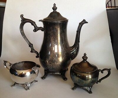 Antique Silverplate I.S. Co.Tea Or Coffee Set. Footed Pot, Creamer And Sugar Cup