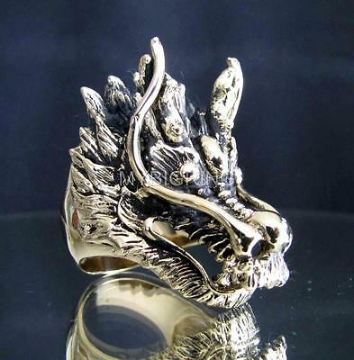 BRONZE MEDIEVAL DRAGON HUNTER SLAYER RING HEAVY METAL DRACO ANTIQUED ANY SIZE