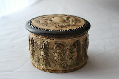 Dini E. Cellai Digma Copper Covered with Ceramic Box with Lid in Brown and Cream
