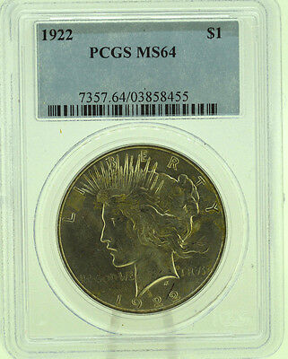 1922 $1 PCGS MS64  Peace Silver Dollar   (962)
