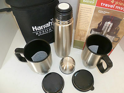 Chefs Basics 4 Piece Stainless Steel Travel Mug Set with Case