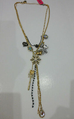Betsey Johnson Snow Angel Snow Flake Reindeer Heart Multi Charm Necklace NWT
