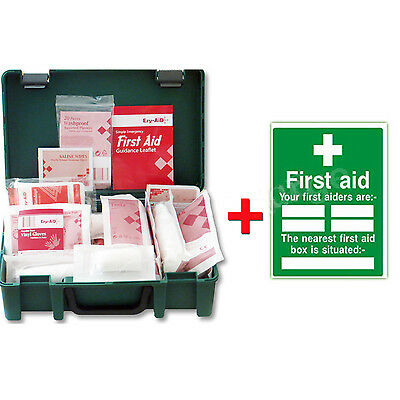 1-10 Person Premium HSE First Aid Workplace Kit + FIRST AIDER Location Sign