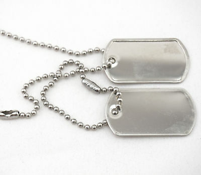 Military Blank Dull Finish Mini Dog Tag Set w/ Stainless Steel Ball Chains