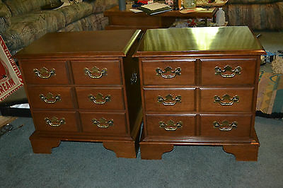 Vintage Mid Century Cherry wood 3 drawer Bedroom Nightstands End Side tables set