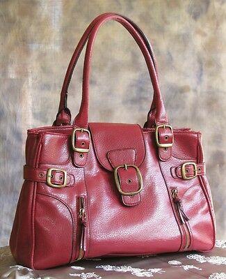 Dark Red Faux Leather Large Shopper Tote Purse Handbag Belted w/ Zippers