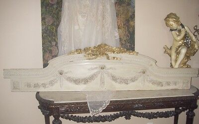 Antique~FRENCH VICTORIAN CARVED BARBOLA ROSES~SWAGS~RIBBONS PEDIMENT~HEADER