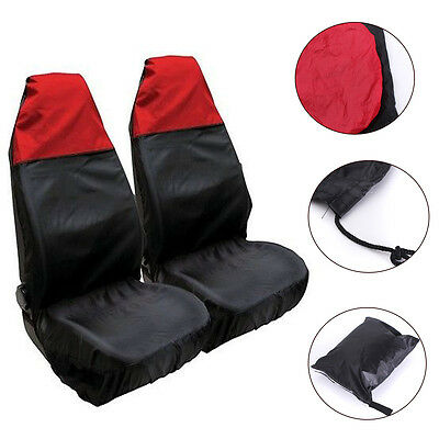 2pcs Universal Black&Red Front Car Seat Covers Protector Waterproof Heavy Duty