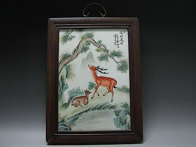 China Famille Rose Porcelain board Painted Two Plum Deer Tree have wood frame