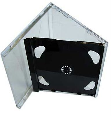 10 Double CD Jewel Case 10.4mm Standard for 2 CD with Black FOLD-OUT Tray HQ AAA