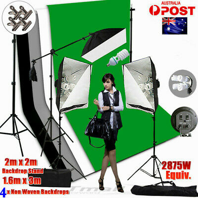 1&4 HEAD Photo Studio Softbox Continuous Lighting Boom Arm 3XLight  Stand KIT