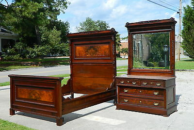 2 pc Mahogany Bedroom Set  Suite Bed and Dresser circa1890