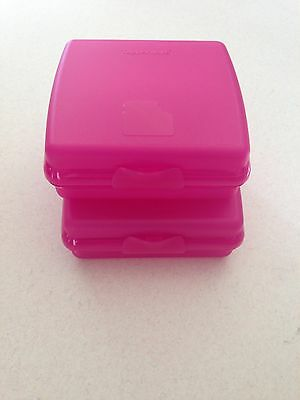 tupperware sandwich keeper Square -Twin Set - Brand New - Free Shipping-PINK