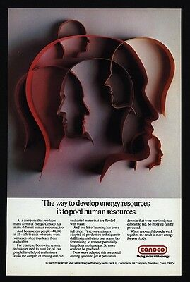 1978 CONOCO Oil Company - 44,000 Employees - Drilling Coal - VINTAGE AD