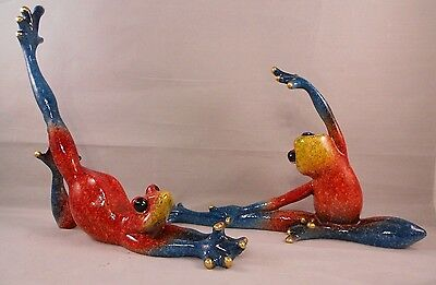 "YOGA FROGS, Set of 2, Large 6"" Tall, Beautifully Colored!"